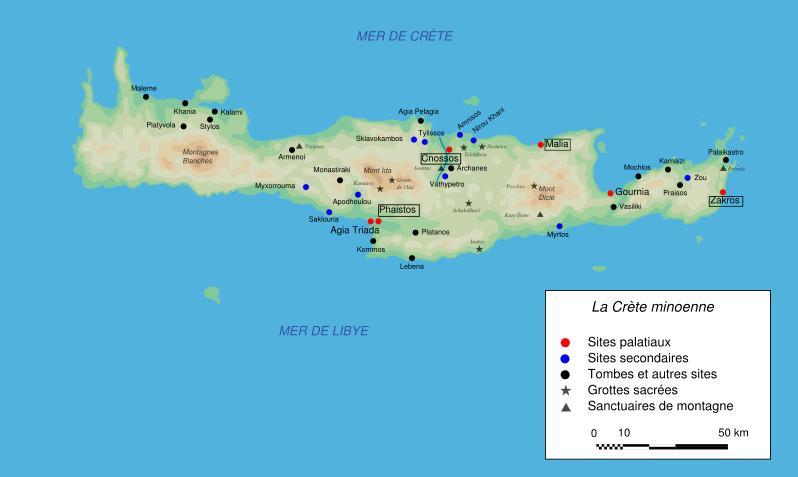 Carte Crete Minoenne.Theudericus Crete Les Palais Minoens